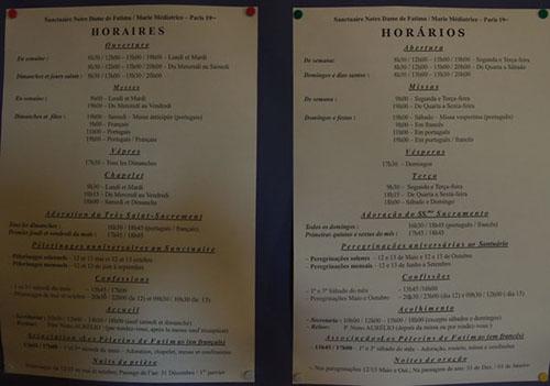 Horaires de l'église portugaise de Paris