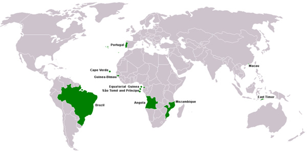 Pays de la lusophonie (source Wikipedia)