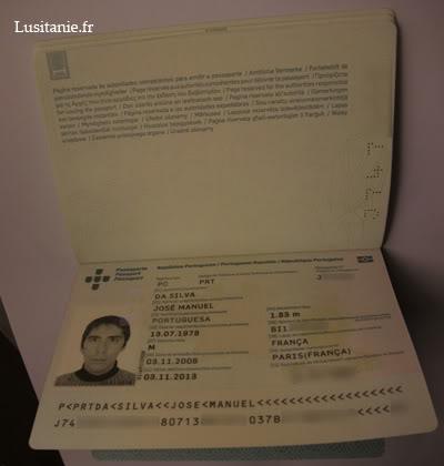 Données du passeport, lumière normale
