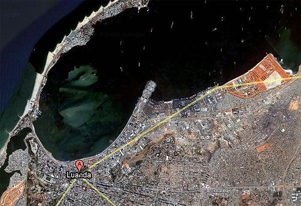 Vue satellite de Luanda, source : google maps