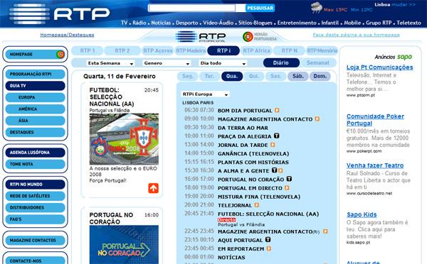 Programme TV de RTPi Europe