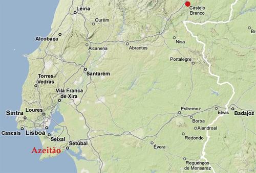 Situation géographique de Azeitão et Castelo Branco