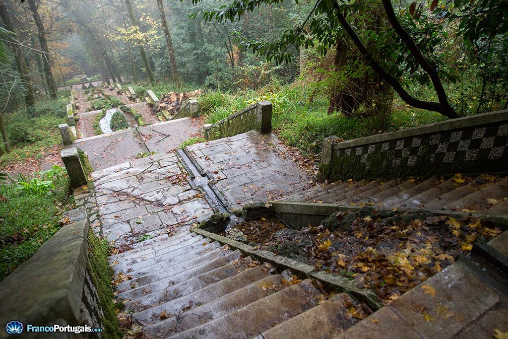 L'eau coule au milieu de l'escalier, qui reproduit les cascades et les grottes du Mont Carmel.