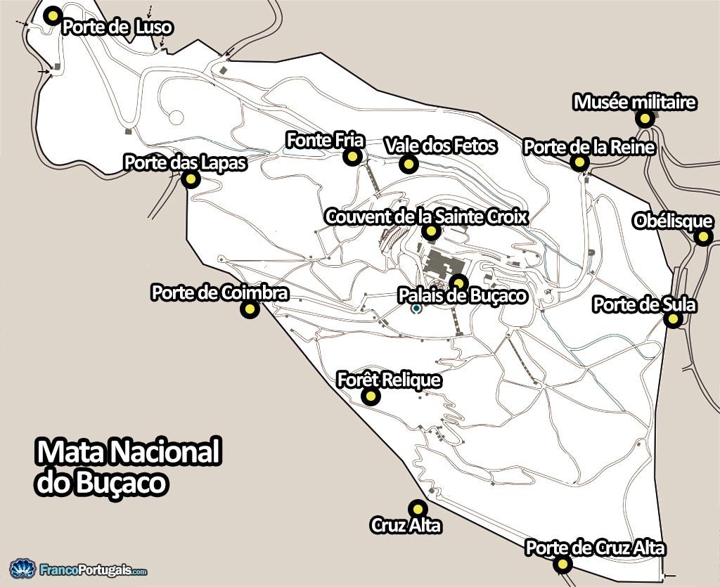 Plan de la forêt de Buçaco