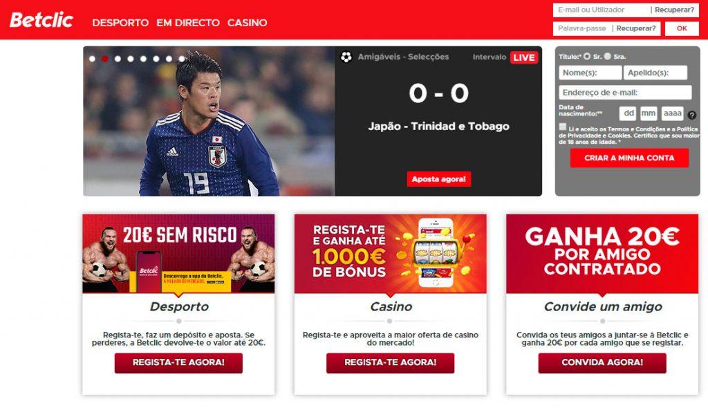Site de Betclic, l'un des leaders du pari en ligne au Portugal