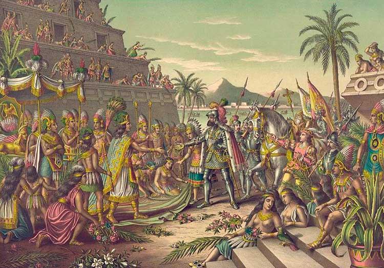 Moctezuma rencontre Hernán Cortés