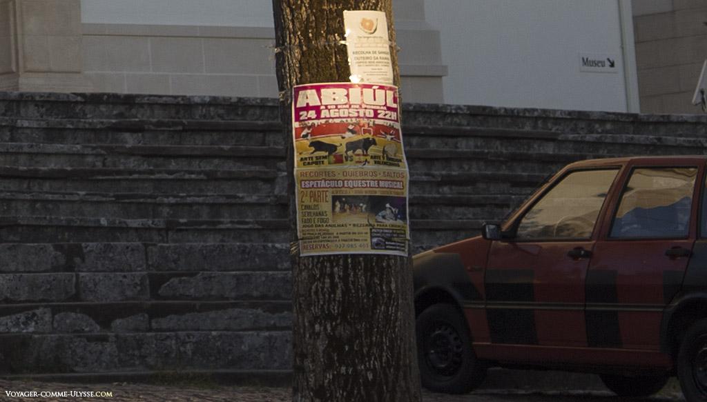 Affiche annonçant le prochain spectacle équestre. Ici, ce n'est pas une corrida qui est annoncée, mais des acrobates qui jouent avec les taureaux.