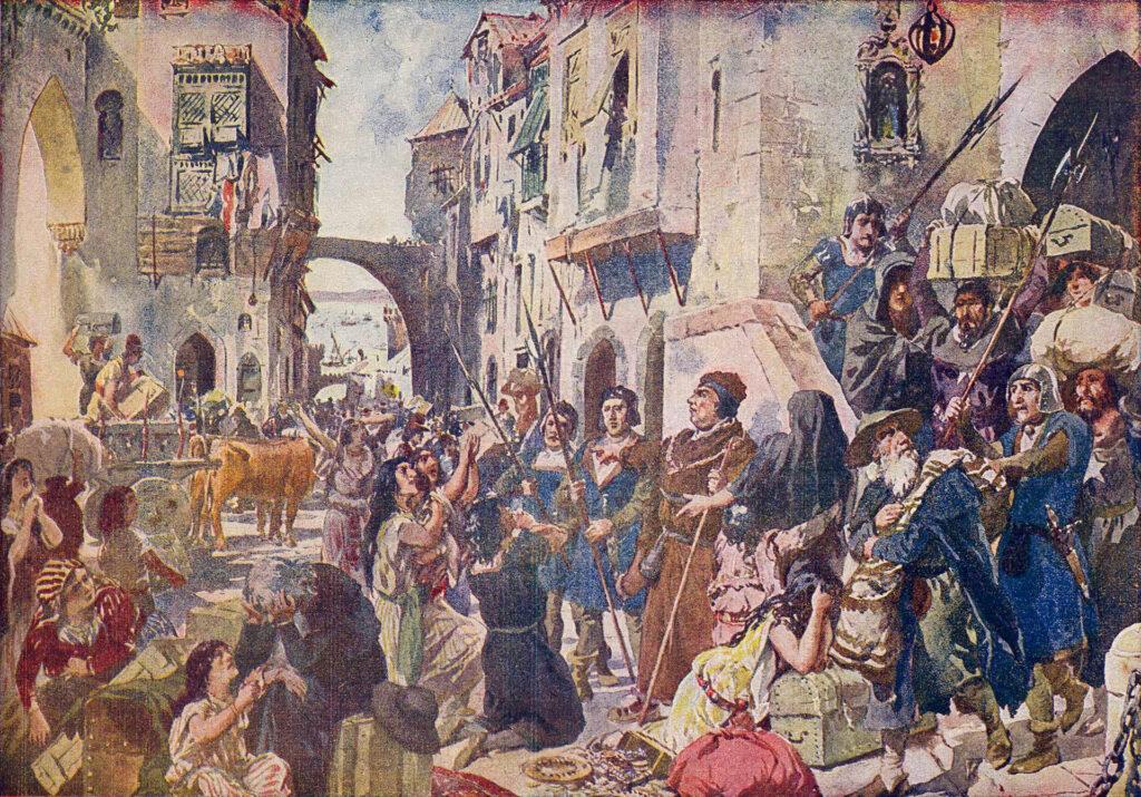 A Expulsão dos Judeus. Peinture de Roque Gameiro.