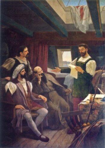 Pero Vaz de Caminha, lisant la lettre sur la découverte du Brésil à Pedro Alvares Cabral